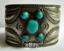 Great Wide 1930's Vintage Navajo Indian Repousee Silver Turquoise Cuff Bracelet