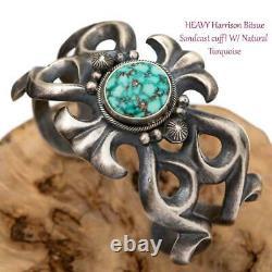 HARRISON BITSUE Turquoise Bracelet Sterling Silver SANDCAST Old Pawn Style