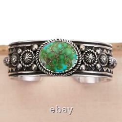 HEAVY Turquoise Bracelet SONORAN GOLD Sterling Silver ALBERT JAKE Native America