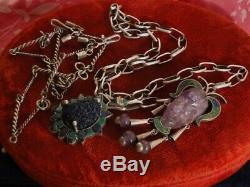 HEAVY! Vtg NA HandMade NAVAJO STERLING Silver Paper Clip Link 24 CHAIN NECKLACE