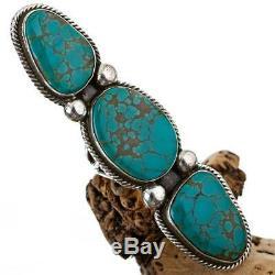 HUGE Navajo Turquoise Ring Sterling Silver RICK MARTINEZ XLong 9 TOTEM TRIO
