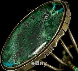 HUGE Old Pawn Vintage Navajo Natural Azurite TURQUOISE Sterling CUFF Bracelet