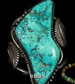 HUGE! Old Pawn Vintage Navajo Natural Carved TURQUOISE Sterling CUFF Bracelet