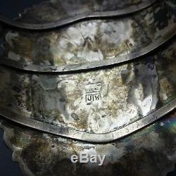 HUGE Signed Vintage ZUNI Sterling Silver TURQUOISE Cluster Cuff BRACELET 70g