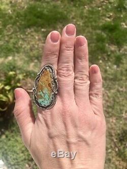 HUGE Sterling Silver Vtg Navajo Blue Brown Matrix Turquoise RingUnisexSz 9.5