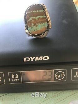 HUGE Sterling Silver Vtg Navajo Royston Boulder Turquoise Ring 23g Sz 10.5