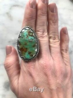 HUGE Sterling Silver Vtg Navajo Royston Turquoise RingUnisexSz 9.75