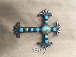 HUGE Vintage NAVAJO SAND CAST Sterling Silver & Turquoise CROSS PENDANT / PIN