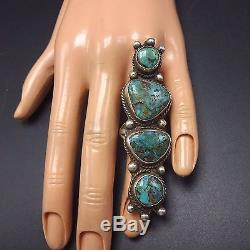 HUGE Vintage NAVAJO Sterling Silver & Natural TURQUOISE RING, size 5.5
