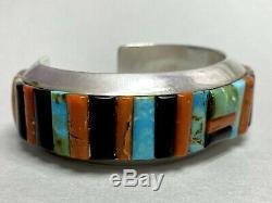 HUGE Vintage Navajo Sterling Silver Turquoise Multi-stone Cornrow Cuff Bracelet