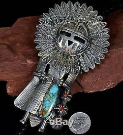 HUGE Vintage Old Pawn Navajo TURQUOISE KACHINA 3D Sterling BOLO TIE