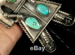 Handmade Big Vintage Unusual Old Pawn Navajo TURQUOISE KACHINA Sterling BOLO TIE
