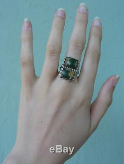 Handsome Vintage Navajo Indian Silver Green Turquoise Rectangles Ring Size 5