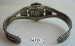 Handsome Vintage Navajo Indian Silver Scenic Agate Cuff Bracelet