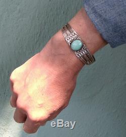 Handsome Vintage Navajo Indian Silver Turquoise Cuff Bracelet