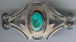 Handsome Vintage Navajo Indian Silver & Turquoise Pin Brooch