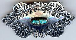 Handsome Vintage Navajo Indian Stamped Silver Turquoise Pin Brooch