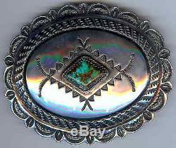 Handsome Vintage Navajo Indian Sterling Spiderweb Turquoise Oval Belt Buckle