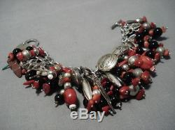 Heavy 166 Grams Vintage Navajo Coral Sterling Silver Charm Bracelet Old