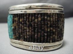 Heavy And Rare! Vintage Navajo Turquoise Heishi Sterling Silver Cuff Bracelet