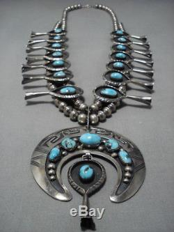 Heavy Bisbee Turquoise Vintage Navajo Sterling Silver Squash Blossom Necklace