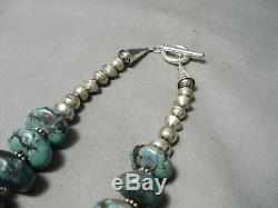 Heavy Cross Vintage Navajo Turquoise Sterling Silver Squash Blossom Necklace