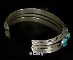 Heavy Mens Navajo Vintage OLD PAWN Traditional Kingman Turquoise ROW Bracelet