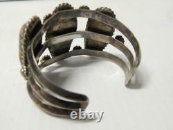 Heavy Old Antique Vintage Bracelet Navajo Indian Sterling Silver Turquoise