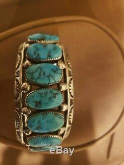 Heavy Vintage Native American Turquoise Sterling Silver cuff Bracelet