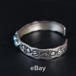Heavy sterling silver. 925 vintage Navajo turquoise bracelet Native American