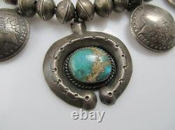 Huge Coin Silver Turquoise Squash Blossom Necklace Morgan Silver Dimes Native