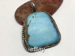 Huge Old Pawn Vintage Navajo Sterling Blue Turquoise Pendant (18.5g)