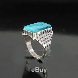 Huge Turquoise Ring Vintage Style Silver Native American Jewelry Navajo Mens