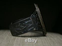 Huge Vintage Harvey Era Navajo Sterling Silver Petrified Wood Cuff Bracelet