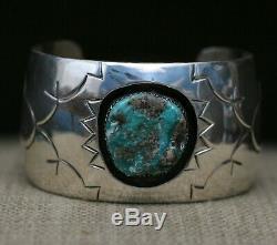 Huge Vintage Native American Navajo Sterling Silver Turquoise Cuff Bracelet