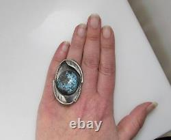 Huge Vintage Native American Turquoise Sterling Silver Ring Handmade
