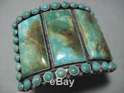 Huge Vintage Navajo Green Turquoise Sterling Silver Bracelet