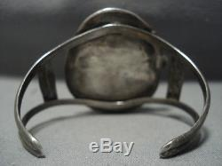 Huge! Vintage Navajo Green Turquoise Sterling Silver Bracelet