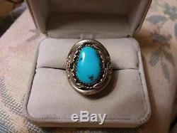 Huge Vintage Navajo Mens Kingman Turquoise Flower Sterling Silver Ring Size 10.5