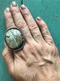 Huge Vintage Navajo Ribbon Boulder Turquoise Sterling Silver Ring Sz 8.5 19g