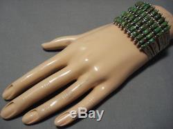 Huge Vintage Navajo Sterling Silver Lime Green Turquoise Bracelet Old Cuff