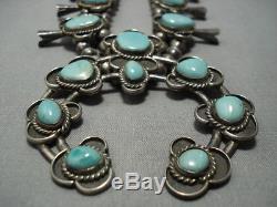 Huge! Vintage Navajo Turquoise Sterling Silver Squash Blossom Necklace Old