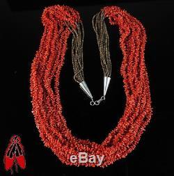 Huge Vintage Navajo nine strand natural red coral Navajo necklace Native Pawn US
