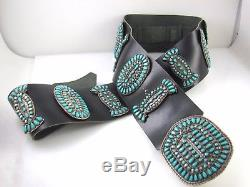 Huge Vintage Zuni Signed Y Sterling Silver Petit Point Turquoise Concho Belt J
