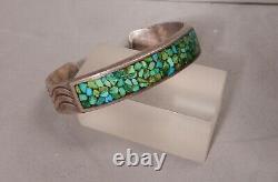 Hvy Pawn Navajo Ingot Silver & Turquoise Chip Inlay Cuff Bracelet, Ariz Estate