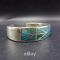 IMHSS Vintage NAVAJO Solid Sterling Silver & TURQUOISE Inlay Cuff BRACELET 46.4g