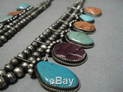 Important Gregory Pat Vintage Navajo Sterling Silver Squash Blossom Necklace