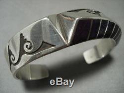 Important Lonn Parker Sugulite Vintage Navajo Silver Geometric Bracelet