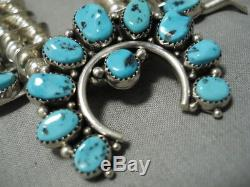 Important Navajo Guild Vintage Sterling Silver Turquoise Squash Blossom Necklace