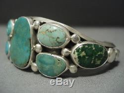 Important Verdy Jake Royston Green Turquoise Vintage Sterling Silver Bracelet